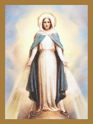 """Our Lady of Grace Deceased Mass Cards (Church Use Only) 4 1/2"""" x 6 1/8"""" 100 per box (Gold Foil) Inside Verse: The Holy Sacrifice of the Mass will be offered for the repose of the soul of ________ Rev_______(bottom) Cross (graphic) With the sympathy of _________ (top) For Church Use Only"""