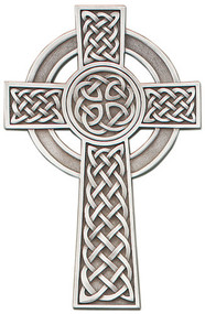 """Pewter Celtic Knot 8"""" Wall Cross has beautiful details. It is made of a solid, lead-free cast silver pewter. The Celtic Knot Wall Cross has hand-finished details and Christian symbols. The cross comes in a plastic gift box, ready for display or use. Perfect for any sacramental occasion."""