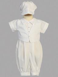Cotton romper christening set ~ hat included. Sizes 0-3m, 3-6m, 6-12m, 12-18m, & 18-24m