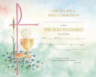 "PRE PRINTED Watercolor Communion Certificate. (XD103)  8"" x 10"".  Certificates come 50 per box, envelopes included."