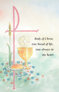 """Watercolor Communion Holy Card HG411. Dimensions: 2 3/4"""" x 4 1/4"""".  Cards come 100 per box. Coordinating products, Certificates and envelopes (XD103, XS113) , and Bulletins (TB363)"""