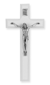 """7"""" Cross with an Antique Silver plated Corpus. Available in Blue, White or Pink. Cross comes boxed."""