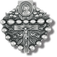 Rosary Genuine Pewter with Antique Finish, Hand Engraved Auto Visor Clip.