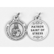 Saint Dymphna - Patron Saint of Stress & Anxiety.  Silver Ox Medal. Made in Italy