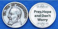 Saint Pio of Pietrelcina Pocket Token. Silver Ox Medal. Made in Italy