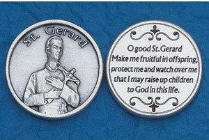 Saint Gerard Pocket Token. Silver Ox Medal with prayer to St. Gerard on back of token. Made in Italy