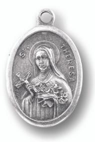 Saint Theresa Silver Oxidized Medal.