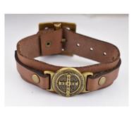 St Benedict Bracelet, Brown Leather