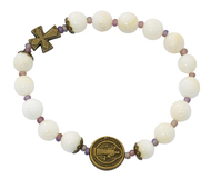 St Benedict Stretch Bracelet, Cream River Pearl Beads