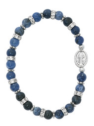 6mm blue lapis beads stretch bracelet.  The Miraculous Medal  is an oxidised silver. Bracelet comes in white box with clear cover.  Made in the USA!
