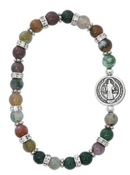 St Benedict Stretch Bracelet made of India Agate Beads. St Benedict stretch bracelet comes in a white box with clear cover.