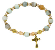 Rosary Stretch Bracelet made of Amazonite Antique Gold Beads. The rosary stretch bracelet comes in a white box with clear cover.