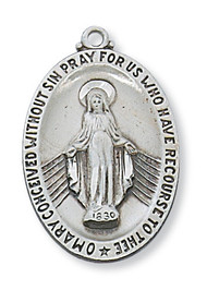 Sterling Silver Miraculous Medal comes on a  24in rhodium plated chain. Gift box included