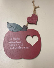 An Apple for the Teacher. Show your teacher your appreciation with this wooden Apple Ornament. Your sure to be the apple of your teachers eye! Hanger with cut out heart from the apple