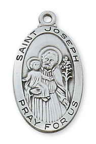 """1"""" - 5/8"""" Pewter Saint Joseph Oval Medal. St Joseph Oval Medal comes on a 24"""" Rhodium Chain. A deluxe gift box is included. Made in the USA"""