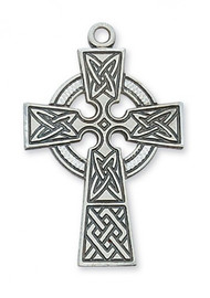 """1 7/16"""" Pewter Celtic Cross on a  24"""" Rhodium Plated Chain. Deluxe Gift Box Included."""