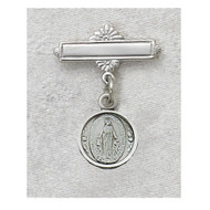 Sterling Silver Miraculous Medal Baby Bar Pin. Engraving Available. Sized for baby, ideal gift for baptism! Made in the USA.