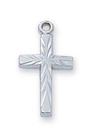 Sterling Silver Etched Cross Baby Bar Pin.  Gift Box included. Engraving Option Available. Made in the USA