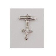 Sterling Silver Crucifix Baby Bar Pin.  Gift Box included. Engraving Option Available. Made in the USA