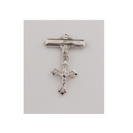Sterling Silver or  Gold over Silver Crucifix Baby Bar Pin.  Gift Box included. Engraving Option Available. Made in the USA
