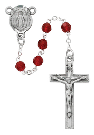 """5MM GARNET COLOR GENUINE CRYSTAL TIN CUT GLASS BEADS WITH PEWTER CRUCIFIX AND CENTER. DELUXE GIFT BOX INCLUDED. DIMENSION: 18"""" LONG"""