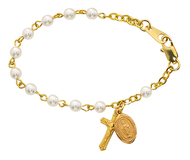 """18KT gold over sterling silver 5 1/2"""" bracelet with 4MM glass pearl beads.  18KT gold over sterling silver crucifix and miraculous medal. Deluxe gift box is included. Made in the USA"""