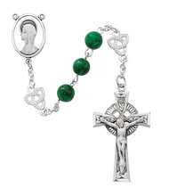 8MM Imitation jade beads with silver oxidized Miraculous Center and Celtic Crucifix. The silver oxidized Our Father Beads are Celtic Knots! Deluxe Gift Box Included. Made in the USA
