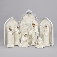 """The Silver Dotted 9 piece Nativity with triptych background set is a must have!  The set is white with silver dots on the figures and the triptych background. Makes a beautiful wedding gift! Tallest piece measures 11.25"""". Dimensions are 11.41""""H 2.36""""W 7.09""""L. Nativity figures are made of a resin material."""