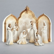 """The Gold Dotted 9 piece Nativity with triptych background set is a must have!  The set is white with gold dots on the figures and the triptych background. Makes a beautiful wedding gift! Tallest piece measures 11.25"""". Dimensions are 11.41""""H 2.36""""W 7.09""""L. Nativity figures are made of a resin material."""