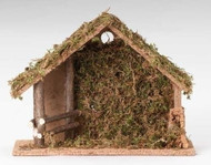 Complete your nativity scene with this beautiful and detailed stable.  This stable is ten inches tall and made for five inch figures.  This stable is made of wood, bark and moss Complete your nativity set be adding this stable to your collection. The 10 inch Italian stable is perfect for nativity figures that are around five inches tall.
