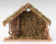 Image of the moss-covered 10-inch Italian Stable for 5-Inch Nativity Figures sold by St. Jude Shop.