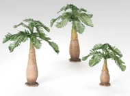 Close-up image of the palm trees included in the 3 Pc. Set Palm Trees for 5in Scale Nativity package sold by St. Jude Shop.