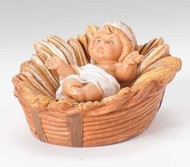 """Fontanini 5"""" scale baby Jesus in crib. Made of unbreakable polymer"""
