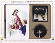 89998B-  Black First Communion Missal Set includes: Hardcover Missal Rosary with Chalice Centerpiece Rosary Case Scapular Communion Lapel Pin Gift Box