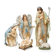 """Adorned Holy Family with Angel and Lamb Nativity.   Dimensions: 9""""L 30""""W 21.75""""H. The Holy Family Nativity Set is made of a resin/stone material and is painted in soft hues. Great for holiday table top display!"""