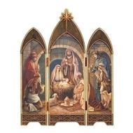 "28"" Nativity Triptych  in an ""oil paint"" look. Dimensions: 28""H x 21""W. Materials: Medium Density Fiberboard"
