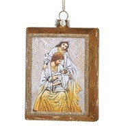 """4.5""""H Rectangular Holy Family Ornament. Ornament is made of glass and gold glitter. Dimensions: 4.5""""H x 1.25""""W x 3.5""""L"""