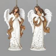 """5""""H Gold Dot Angel Ornament in two styles. CHOOSE angel ornament holding a star or angel ornament holding a heart. Angel Ornament measures: 5""""H x 3""""W 2""""D."""