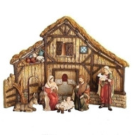 """6 piece Nativity set comes complete with Stable, Shepherd and Donkey. Tallest piece measures 12"""". Dimensions are 12""""H x  16.5""""W. Nativity figures are made of a resin material."""