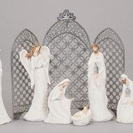 """16"""" Silver Metal Triptych Backdrop for Nativities. Dimensions: 16""""H 0.25""""W 18.5""""L.  NOTE:  FIGURES IN PICTURE ARE NOT INCLUDED!"""