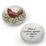 """Cardinal Memorial Pocket Token. """"When a cardinal appears an angel is near"""" is quoted on the underside of this cardinal pocket token. A wonderful remembrance of someone we have lost. Cardinal Pocket Stone is made of a resin/stone mix."""