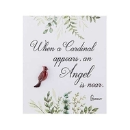 """Cardinal Memorial Pin. """"When a cardinal appears an angel is near"""" is quoted on the card that the pin is on. A wonderful remembrance of someone we have lost. Cardinal Memorial Pin is made of zinc."""