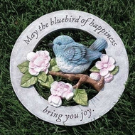 """11.8"""" Bluebird of Happiness Garden Stone. The Blue Bird of Happiness Garden Stone is made of resin/stone mix. Wording says; """"May the Bluebird of Happiness Bring You Joy"""". The bluebird resonates truth, faithfulness, and solidarity because they are vigilant in their tasks. They also keep the same mate for life, which is symbolic of endurance, patience and loyalty.  Bluebird of Happiness Garden Stone is made of a resin/stone mix."""