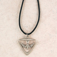 Pewter Triangular Shape Holy Spirit on an adjustable leather cord. Comes carded. Made in the USA
