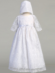 Abby Christening Gown is made of embroidered tulle. Abby Gown comes with a bonnet and is made in the USA. Sizes 0-3 months, 3-6 months, 6-12 months, 12-18 months