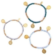 """7""""L St Benedict Stretch Bracelet. This Gold St Benedict Stretch Bracelet comes in a variety of colors. Please Choose from Light Blue, White, Lavender, Green, Silver, or Pink"""
