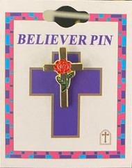 """1"""" Cross with Red Rose in the enter. Comes carded."""