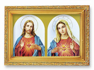 """A 4.5"""" x 6.5"""" antique gold frame with glass image of the Sacred Heart of Jesus and the Immaculate Heart of Mary.  Easel back or wall hanger, Italian Lithograph, Boxed."""