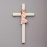 "57209G  7.5""H Valencia Praying Girl on Cross."