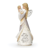"""8.5"""" Baby Blessing Angel. Writing on the angel's dress says: """" Bless this baby with the miracle of Heaven's Love."""" Angel is made of a resin/stone mix."""